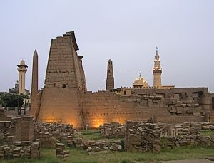 Luxor temple and minarets in evening light
