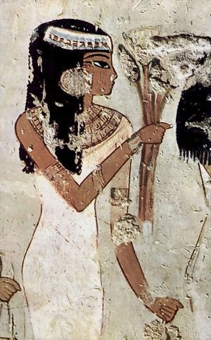 woman with flowers menna tomb