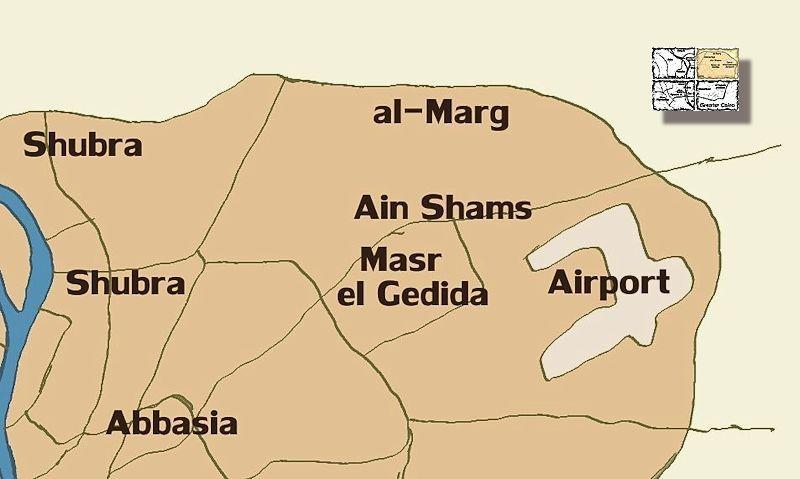 Map and info about Greater Cairo, Giza and Cairo, Egypt