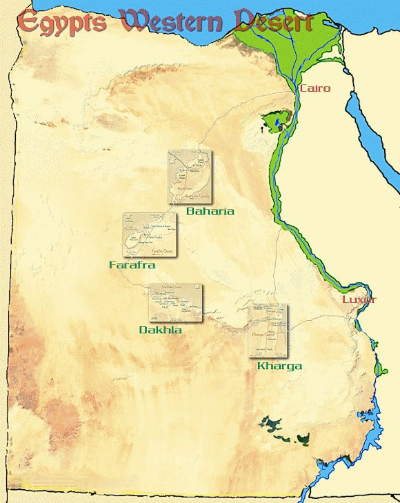 Map And Information For The Oases Of Wadi El Gedid In The Western - Map of egypt libyan desert