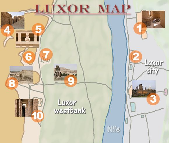 map of luxor east and west bank